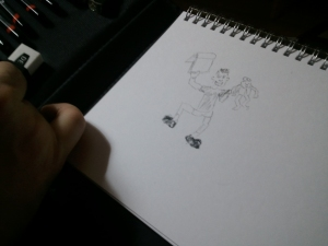 Greg's drawing of Xander, Baltimonkey, and his drawing pad