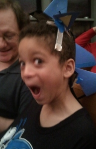 Xander as Sonic the Hedgehog in the Christmas pageant